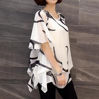 2017 New Fashion Blusa Blouse Women Shirt Summer Chiffon Shirt Plump Sister Loose Sleeve Women Tops