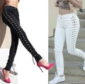 Lado Vendaje Mujeres Flaco Lápiz Jeans Pantalones Negro Blanco Largo Femme Pantalon de Mezclilla Delgada 2017 Del Otoño Del Resorte Ropa
