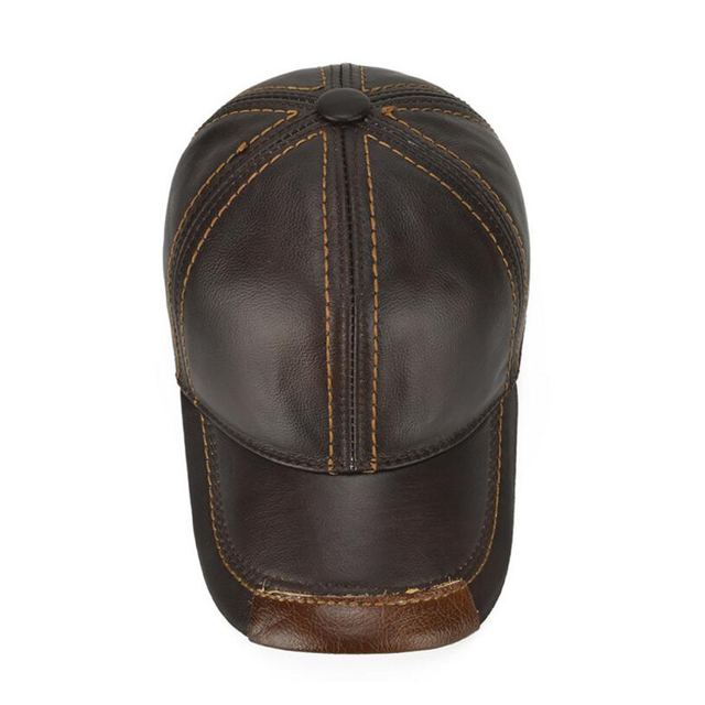 2018 Men Real Genuine Leather Baseball Cap Brand Casual Autumn Winter Real Cow Leather Hat Real Cowhide Leather Baseball Caps
