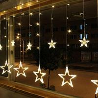 Christmas Lights AC 220V Romantic Fairy Star LED Curtain String Lighting For Holiday Wedding Garland Party