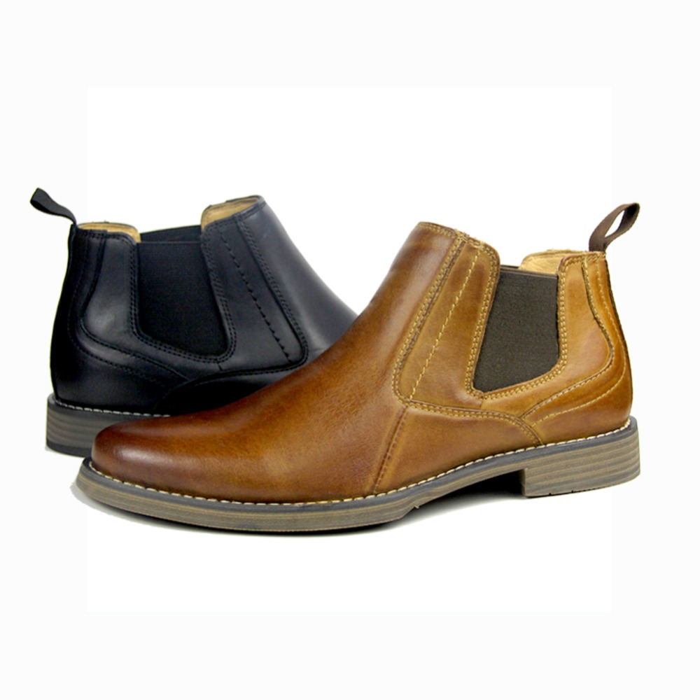 Otto Newest 2018 Mens Ankle Boots British Style Cow Genuine Leather Chelsea Boots Casual Rubber Shoes Man Size Us7-13 Eur 39-47 Men's Shoes