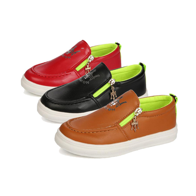 retro kids causal leather shoes solid zip  PU leather flat shoes for 3-12yrs children boys girls students fashion outdoor shoes