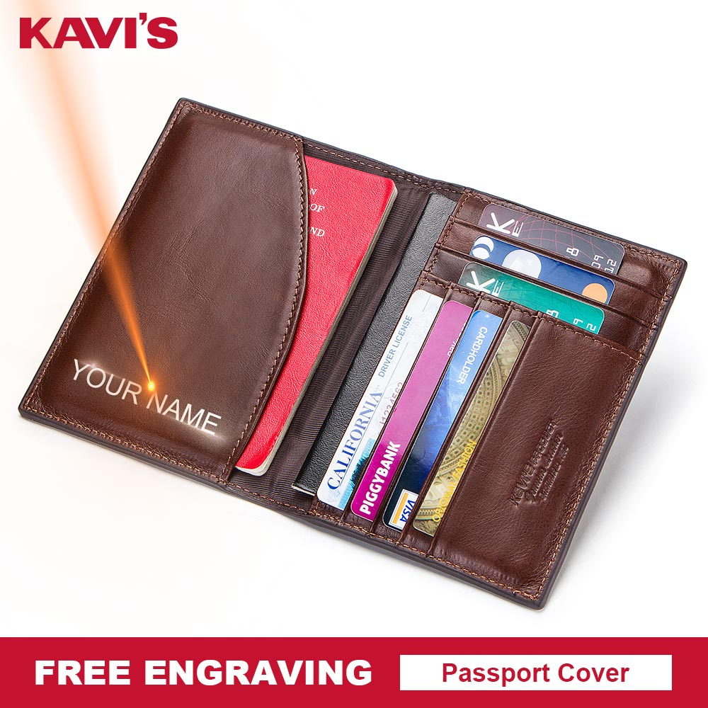 KAVIS Free Engraving Name Passport Cover Genuine Cow Leather Small ID Card Holder Travel Credit Men Wallet Purse Case Thin цена 2017