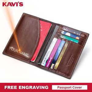 4fbb54faa0a KAVIS Free Engraving Name Passport Cover Genuine Cow Leather Small ID Card  Holder Travel Credit Men Wallet Purse Case Thin
