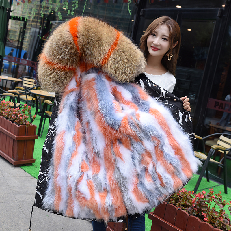 Three Pattern Jackets Coat Warm Natural Mink Fur Detachable Inner Middle Long Super Fur Collar Plus Size M-3XL 2018 Parkas Mujer