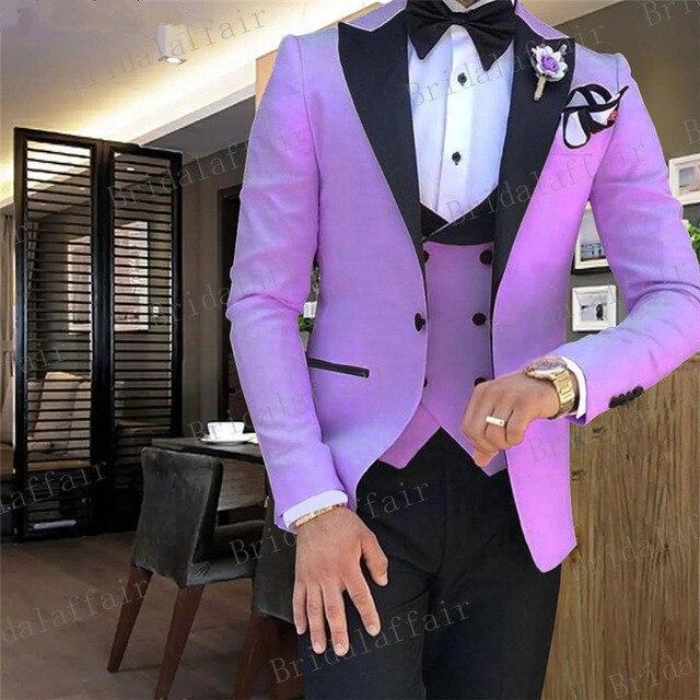 Thorndike wykonane na zamówienie fioletowy szczyt Lapel garnitury męskie zestaw duży rozmiar ślubne Prom Groom smokingi 3 sztuk garnitur (kurtka + spodnie + kamizelka) w Garnitury od Odzież męska na  Grupa 1