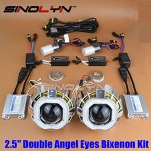 SINOLYN Car Square Double CCFL Angel Eyes Halo HID Bi-xenon Headlight Projector Lens Xenon Headlamp Lenses Light Full Kit H4 H7