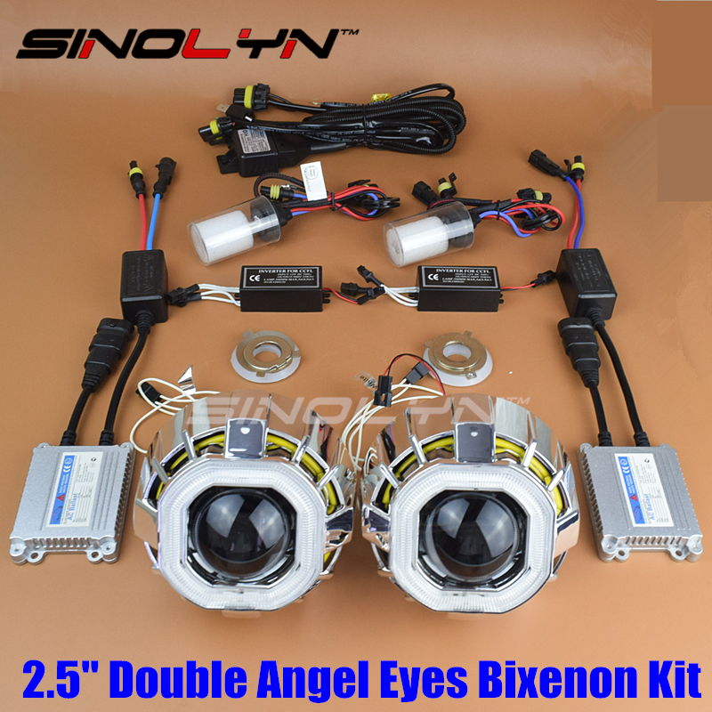SINOLYN Square Double CCFL Angel Eyes Halo Car HID Bi-xenon Headlight Projector Lens Xenon Headlamp Lenses Light Kit H1 H4 H7 sinolyn 35w 3 0 inch bi xenon square lens projector hid headlights full metal headlamp glasses lenses diy kit hi lo car styling