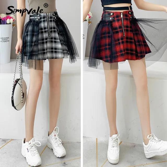 Vintage Women Gothic Black Red Plaid Short Skirt Mesh Patchwork High Waist Mini Skirts Female Punk Lolita Tulle A-line Skirt