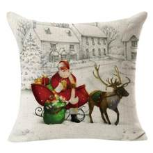 Christmas Linen Square Throw Flax Pillow Case Decorative Cushion Pillow Cover Poszewki Na Poduszki Overwatch Kussensloop K35(China)