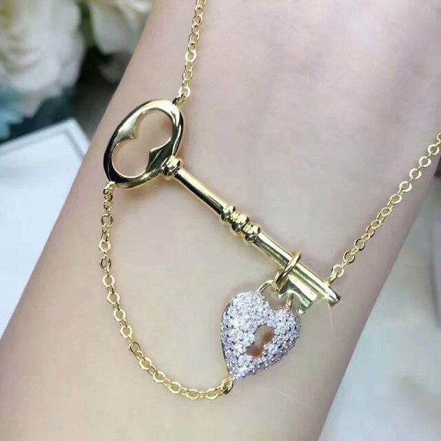 Hot Brand Pure 925 Sterling Silver Jewelry For Women Micr Stone Heart Lock Finish Key Pendant Necklace Fashion Women's Jewelry