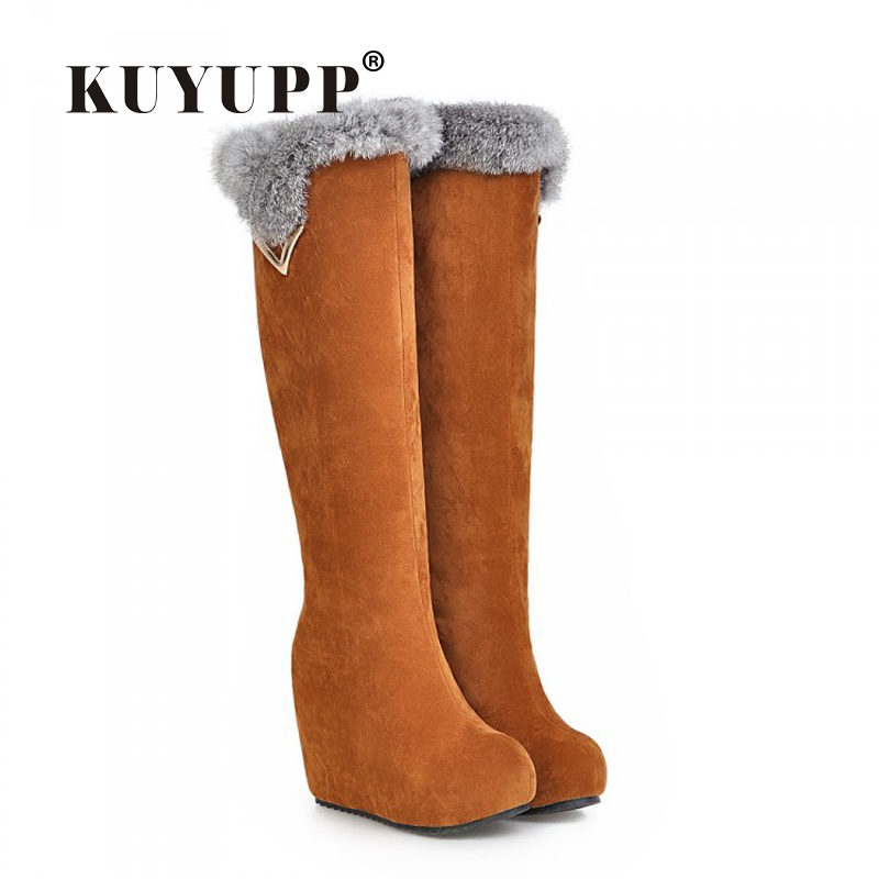 12CM High Heels Wedges Womens Snow Boots 2016 Fashion Flock Rabbits Hair Winter Boots Short Plush Women Boots Botas Mujer DX68