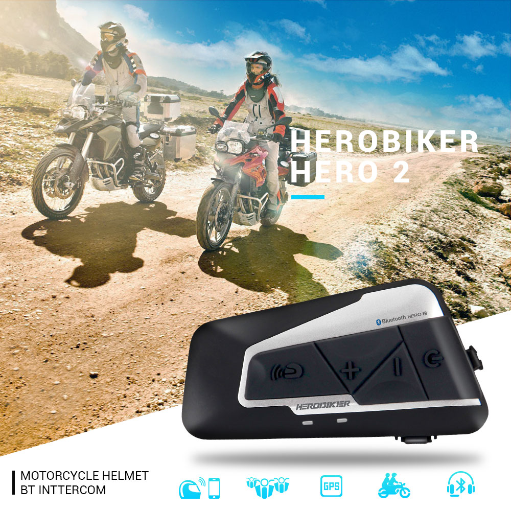 HEROBIKER 1200M Motorcycle Intercom Helmet Headset Helmet Bluetooth Intercom Wireless Waterproof Moto Headset Interphone 2 Rides