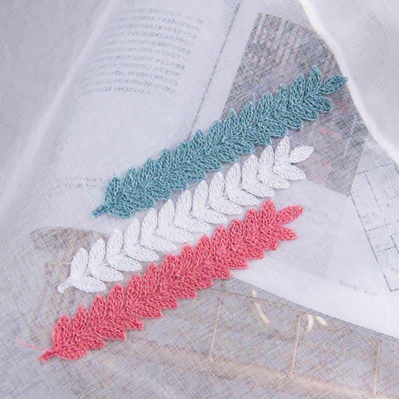 1 個刺繍ホワイトキッチンのカーテンのための窓の家の装飾小麦耳パタパタチュールロッドポケットカーテンチュール DL051 #30