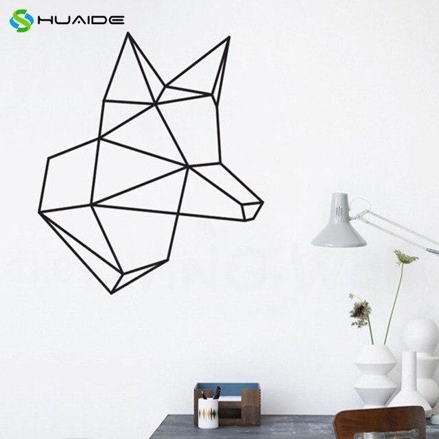 Geometric Animals Decals Head Fox Home Decor Vinyl Wall Sticker For Living Room Bedroom Decoration Wall
