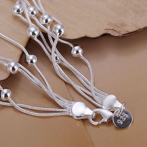 H234 925 silver bracelet, 925 silver fashion jewelry Five Line Gloss Ball Bracelet /aztajraa awhajnoa 7