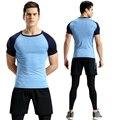 2017 novo ginásio curto-de mangas compridas dos homens ginásio marca fast-secagem rápida em torno do pescoço apertado terno dos esportes em execução T-shirt M-4XL