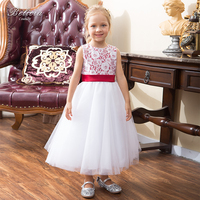 Belicia Couture Write Lace Flower Girl Dresses For Wedding Pageant Gown With Red Bow Belt Girl
