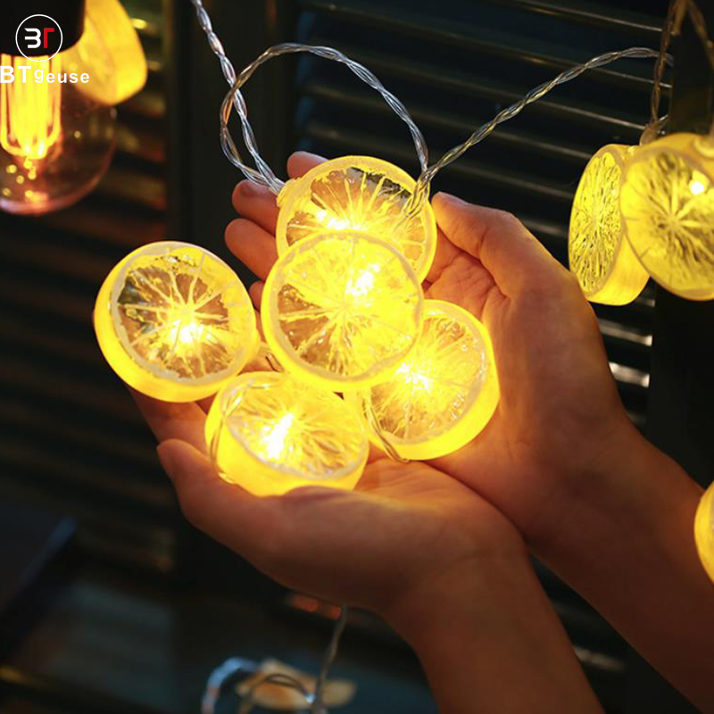 BTgeuse 1M 3M Fruit Watermelon Lemon LED Fairy String Decorative lights Warm White for Christmas Holiday Party Accessories