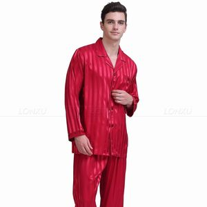 Image 5 - Mens Ipek Saten Pijama Set Pijama Pijama Seti Pijama Seti Loungewear S, M, L, XL, 2XL, 3XL, 4XL Artı Çizgili Siyah