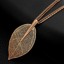 2019 Fashion New Rose Gold Color Necklace For Women Necklaces & Pendants Sweater Chain Big Leaves Pendant Statement Jewelry Gift(China)