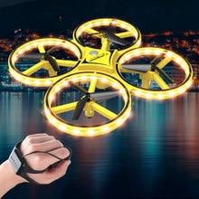 Crianças aeronaves led iluminação quadcopter drone gravidade sentido quatro eixo relógio inteligente presente brinquedo de controle remoto gesto interagir
