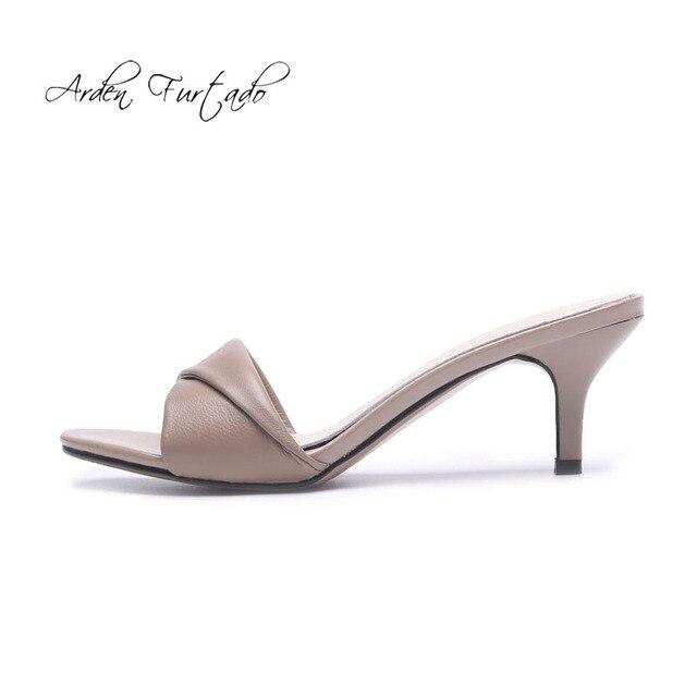37fef8aab2 Arden Furtado 2018 summer high heels 6cm stilettos genuine leather open toe  fashion slippers elegant woman shoes concise slides