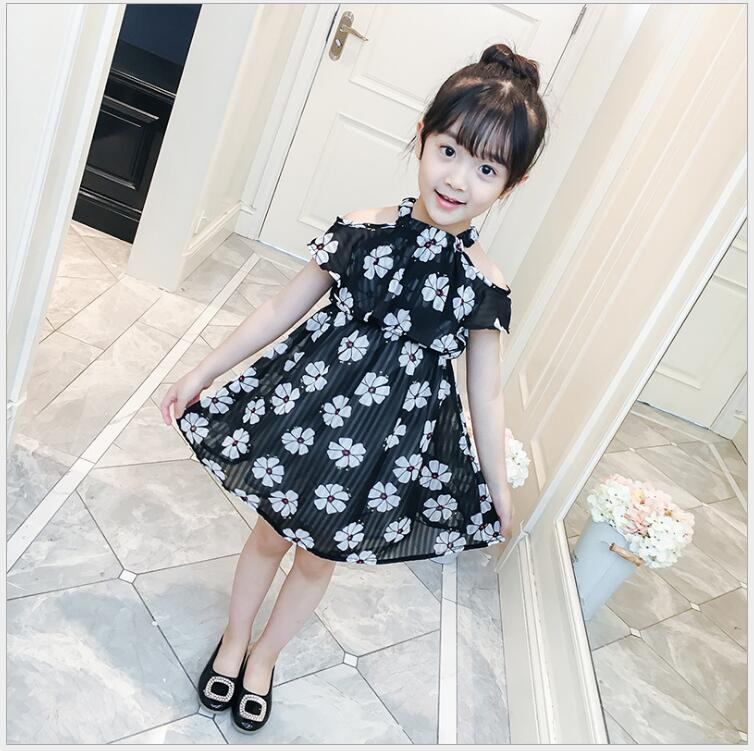 Beach dress with open shoulders girls summer flower dress princess costume with off shoulders for girl clothes for a child retail new girl flower dress child princess gauze dress summer summer costume 7 colors free shipping 5031