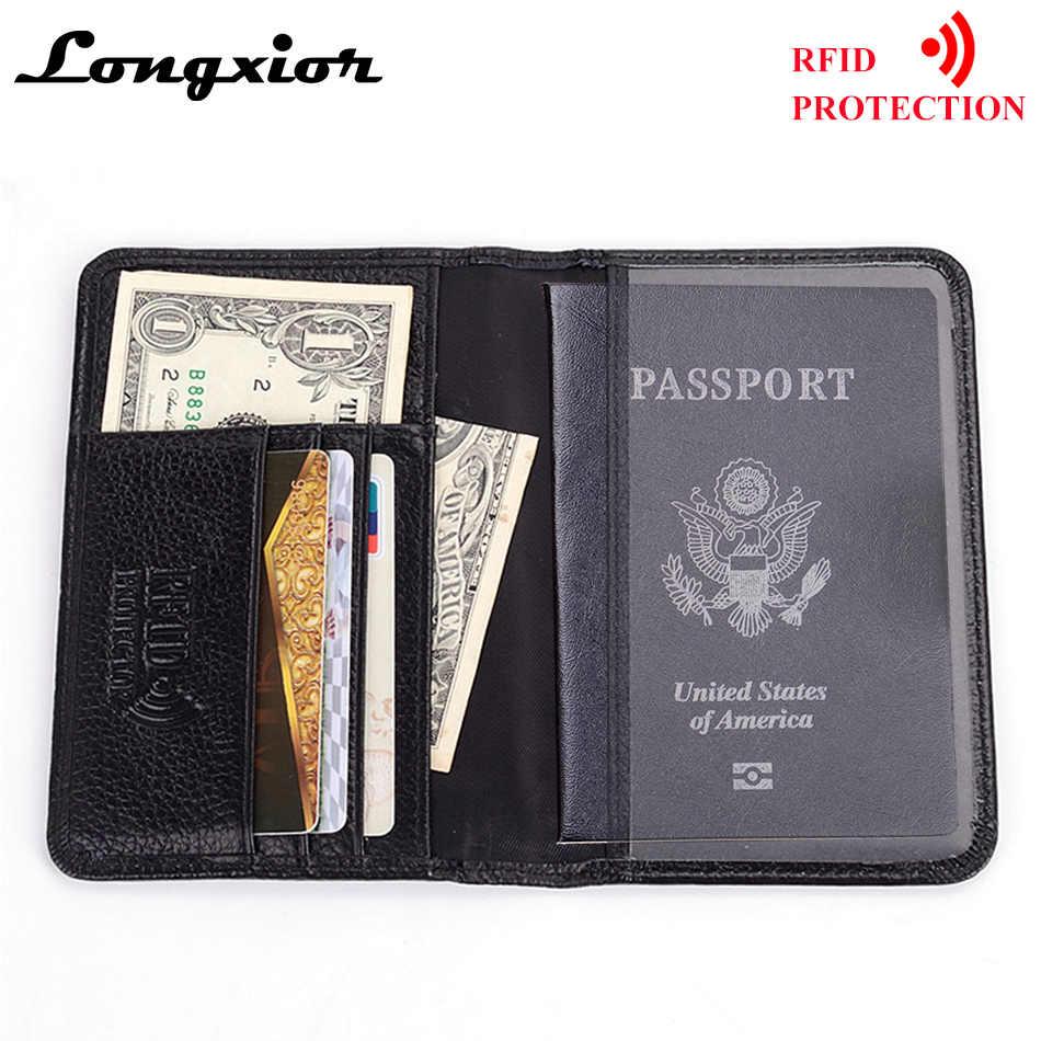 1b348d98b9e4 MRF6 RFID Blocking Passport Cover for Men Genuine Cow Leather Credit ...