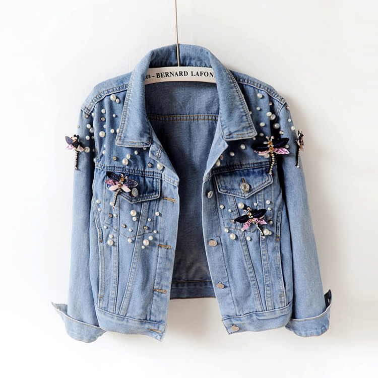 Spring Autumn Women   Basic     Jackets   Women Denim   Jacket   Pearls Beading Slim Jeans   Jacket   Casual Long Sleeve   Jackets   897