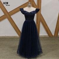 Azul marinho Longo Vestido de Noite Formal 2018 Simples A Linha até o Chão Pérolas Tulle Mulheres Vestidos Custom Made Partido Barato vestidos