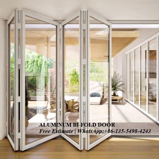 Porte pliante coulissante en Aluminium à Double vitrage pour entrée, porte intérieure, portes-fenêtres pour utilisation en villa, séparateurs de pièces extérieures