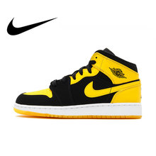 various colors 81a3c 6bb42 Nike Air Jordan 1 Mid AJ1 Original Authentic Black Yellow Joe Men s  Basketball Shoes Sneakers Outdoor