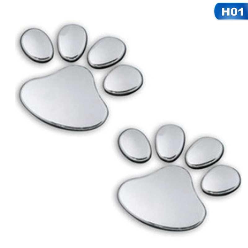 1 زوج لطيف قدم سيارة ملصقا 3D الحيوان الكلب القط الدب القدم يطبع البصمة صائق ملصقات السيارات الفضة اكسسوارات السيارات
