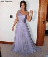 Элегантные, на одно плечо платье подружки невесты шифон Сирень Длинные платья подружек невесты Свадебная вечеринка Лаванда Vestido De Dama Honra