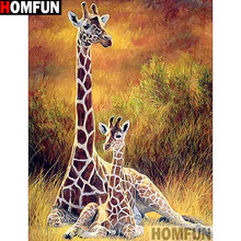 "HOMFUN Full Square/Round Drill 5D DIY Diamond Painting ""Giraffe family"" 3D Embroidery Cross Stitch 5D Home Decor A13362(China)"