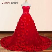 Красный бальное платье вечернее платье 2018 Vestido De Novia с открытыми плечами 3D Цветочный цветы невесты формальное вечернее платье