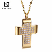 Kalen Trendy Stainless Steel Gold Plated Solitaire Pingentes Shining Rhinestone Cross Pendant For Egyptian Charms Women