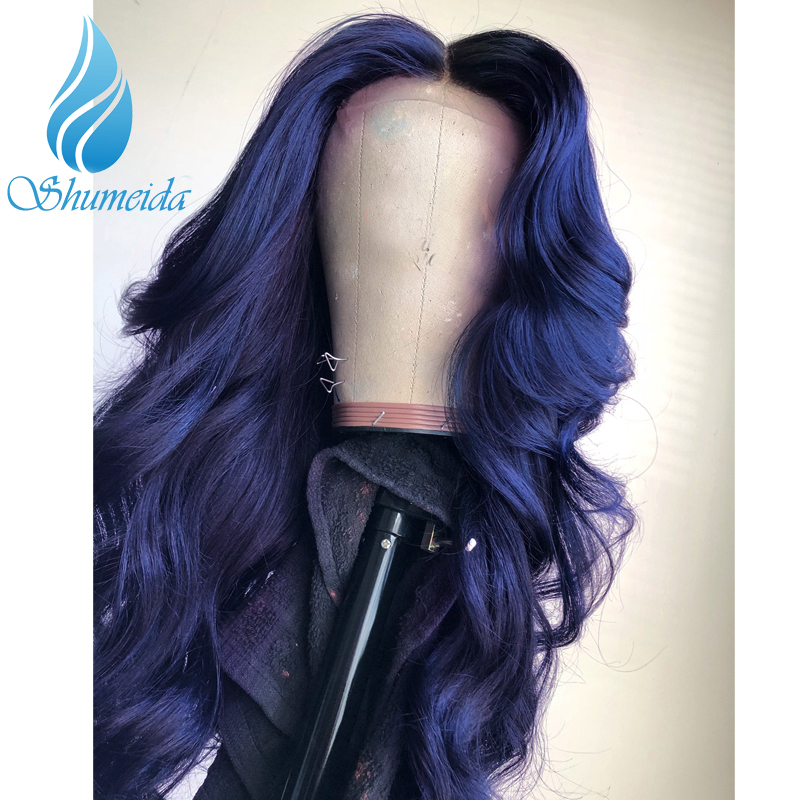 Image 3 - SHD 13*3 Dark Blue Lace Front Wigs with Pre Plucked Hairline Brazilian Body Wave Lace Frontal Wig with Baby Hair Remy Human Hair-in Human Hair Lace Wigs from Hair Extensions & Wigs