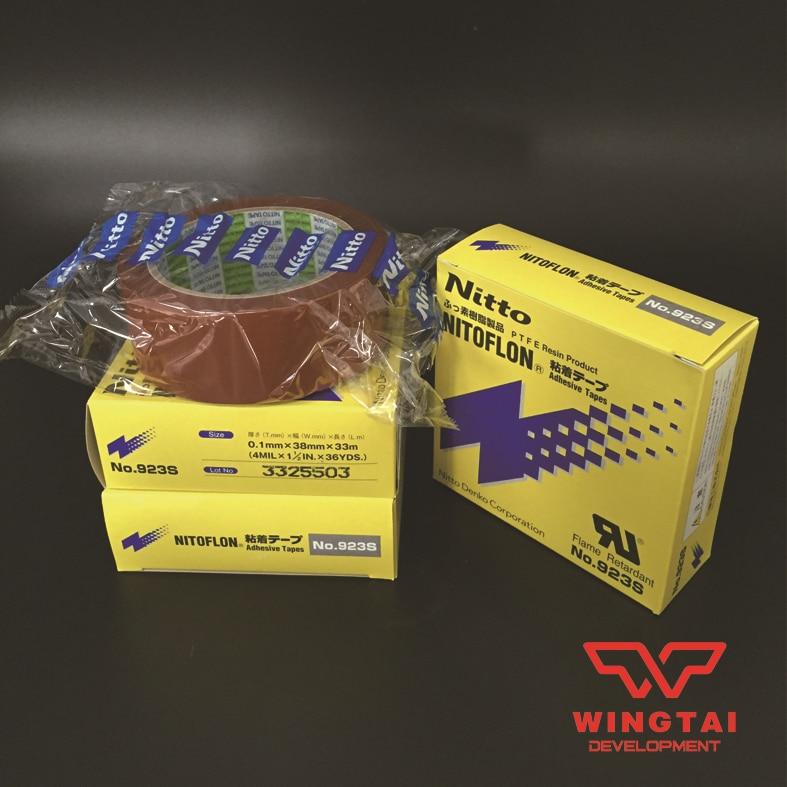 1 Pcs T0.10mm*W38mm*L33m NITTO DENKO 923S Nitoflon Heat Sealing Flame Retardant Adhesive Tape t0 10mm w38mm l33m nitto denko heat sealing machine use heat resistant tape 923s