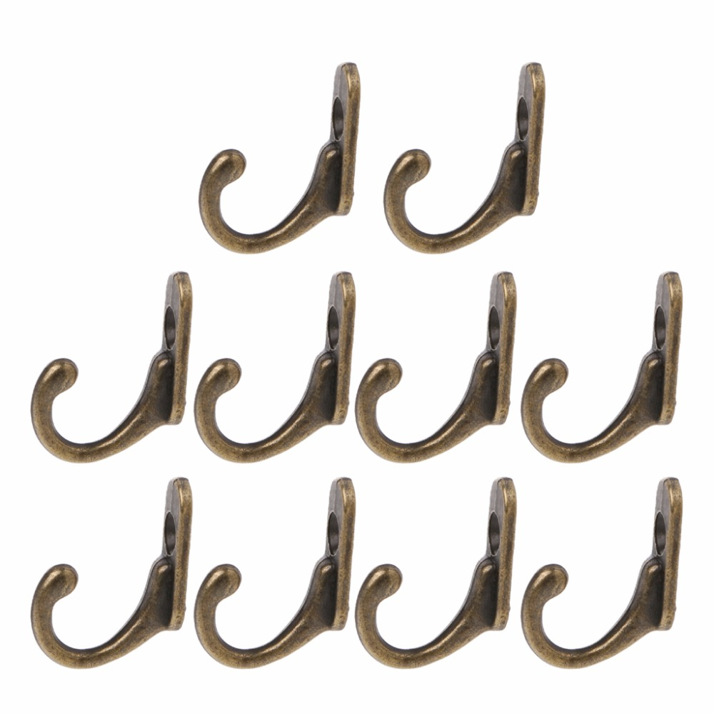 10PCS Vintage Bronze Double Coat Hangers Wall Mounted Entryway Hooks With Screws
