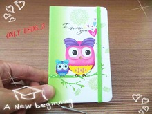 New arrival beautiful Cute Mini Portable owl hard cover Paper Diary Notebook school Memo Note Book notepad free shipping