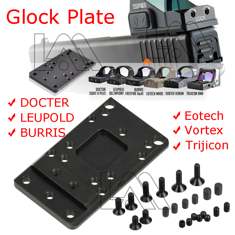 Glock vista trasera placa de montaje Base Ajuste de montaje Universal Vista de punto rojo pistola accesorios para vórtice veneno y Viper RMR