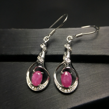 Uloveido Verified Ruby Drop Earrings for Women, 925 Sterling Silver, 4*6mm Wedding Jewelry with Velvet Box Certificate FR133