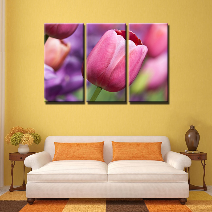 Aliexpress.com : Buy Color Wall Art 3PCS Pink Orange Tulips Flowers ...