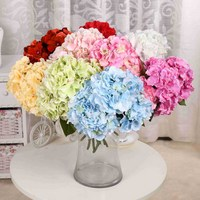 5 Heads Real Touch Artificial Fake Silk Flower Hydrangea With Leaf Fake Flowers Silk Bouquets For