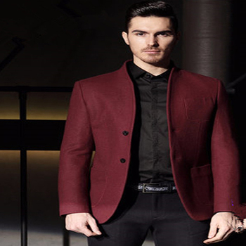 Men's casual stand collar suits 2017 new wind red wedding suits for men burgundy terno masculino new groom suit with black pants