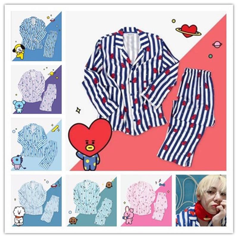 Kpop Bts Bangtan Boys Bt21 Cartoon Version V Suga Same Harajuku Pajamas Men Women Long Sleeve Shirt Nighty Nightwear Set