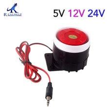 Red & Black Mini Wired 72 millimetri Cavo 120dB Ad Alta Voce Sirena del Corno per il Sistema di Sicurezza Domestica di Allarme Sonoro DC12V 24V 5V Protezione per la Casa