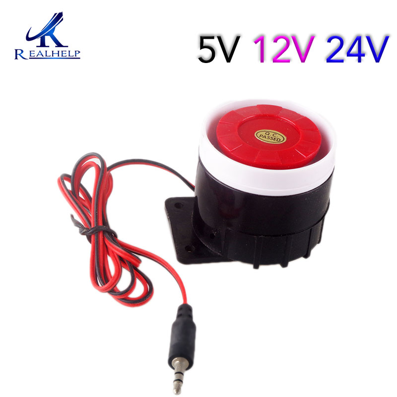 Red&Black Mini Wired 72mm Cable 120dB Loudly Siren Horn for Home Security Sound Alarm System DC12V 24V 5V Protection for Home